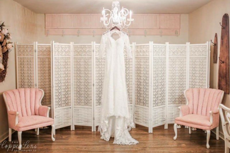 bride dressing room wedding dress