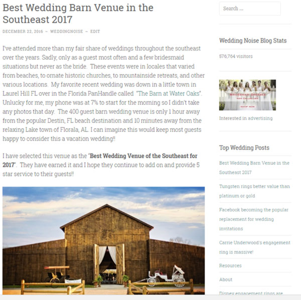 Wedding Engagement Noise Blog Features Us As The Best Barn Venue In Southeast